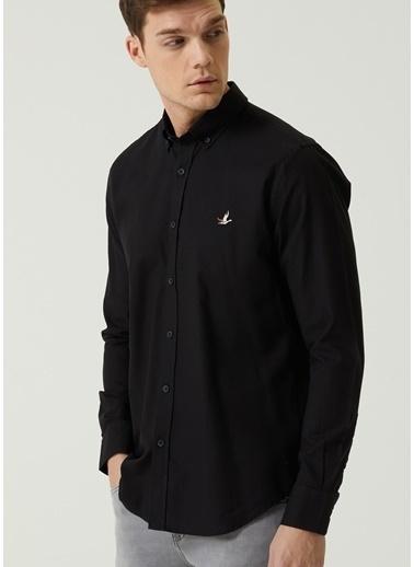 Beymen Club Beymen Club 101597442 Düğmeli Yaka Uzun Kol Slim Fit Düğme Kapatmalı Logo Nakışlı Yuvarlak Manşetli Pamuk  Erkek Oxford Gömlek Siyah